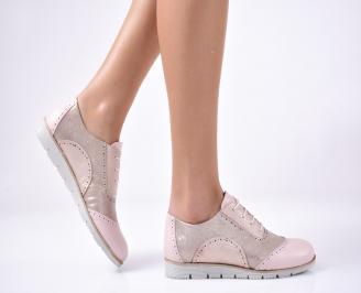 Дамски равни обувки естествена кожа розови. GLWC-1013298