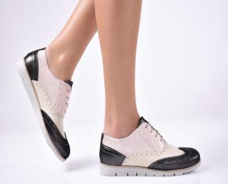 Дамски равни обувки естествена кожа пудра. MHOE-1013305