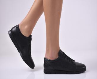 Дамски равни обувки естествена кожа черни CZGH-1013675