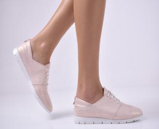 Дамски равни обувки естествена кожа пудра EKEX-1013676