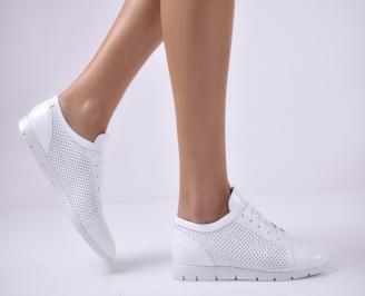 Дамски равни обувки естествена кожа бели DONM-1013679