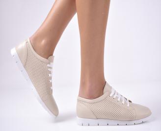 Дамски равни обувки естествена кожа бежови EPVM-1013680