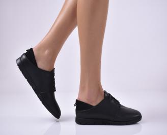 Дамски равни обувки естествена кожа черни HYIQ-1013682