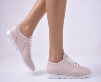 Дамски равни обувки естествена кожа пудра LEMY-1013683
