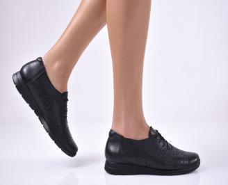 Дамски равни обувки естествена кожа черен MRNM-1013684
