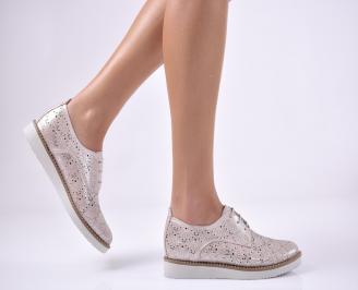 Дамски равни обувки естествена кожа пудра YIQF-1013687