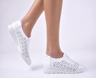 Дамски равни обувки естествена кожа бели OOJS-1013689