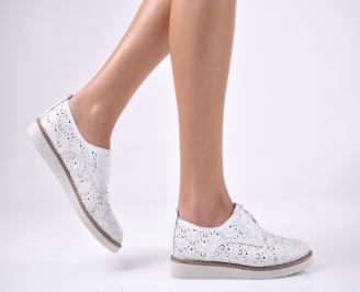 Дамски равни обувки естествена кожа бели USBI-1013691