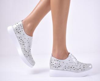 Дамски равни обувки естествена кожа сребристи UJHB-1013694