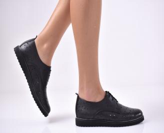 Дамски равни обувки естествена кожа черни GOVV-1013697