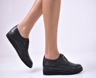 Дамски равни обувки естествена кожа черни NRSA-1013698