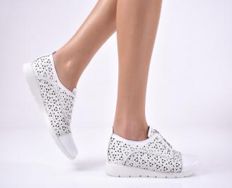 Дамски равни обувки естествена кожа бели RZUL-1013699