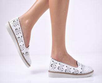 Дамски равни обувки естествена кожа бели OTSM-1013701