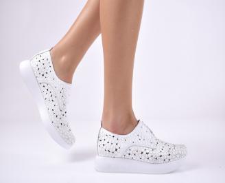 Дамски равни обувки естествена кожа бели HFZJ-1013702