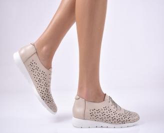 Дамски равни обувки естествена кожа бежови SUXG-1013703