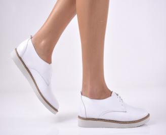 Дамски равни обувки естествена кожа бели XWQW-1013705