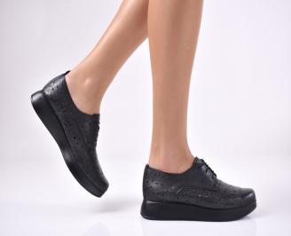 Дамски равни обувки естествена кожа черни SRUJ-1013708