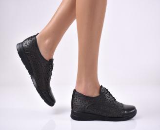 Дамски равни обувки естествена кожа черни ZIBD-1013709