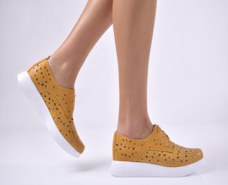 Дамски равни обувки естествена кожа жълти SXEZ-1013711