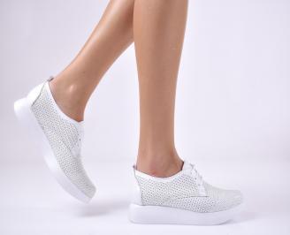 Дамски равни обувки естествена кожа бели AZPQ-1013712