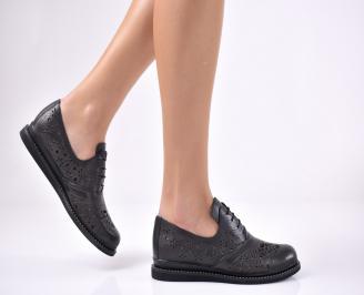 Дамски равни обувки естествена кожа черни ANSL-1013713