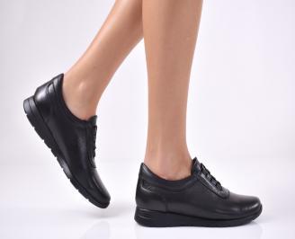 Дамски равни обувки естествена кожа черни TVDS-1013714