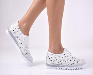 Дамски равни обувки естествена кожа бели WTWG-1013715