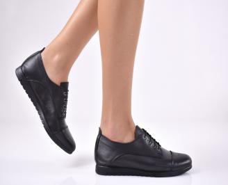 Дамски равни обувки естествена кожа черни IYEW-1013717