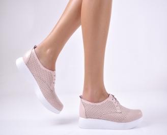 Дамски равни обувки естествена кожа пудра EHUZ-1013718