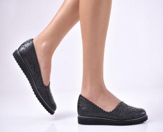 Дамски равни обувки естествена кожа черни OKZR-1013720