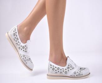 Дамски равни обувки естествена кожа бели DPEW-1013722