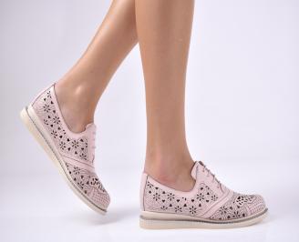 Дамски равни обувки естествена кожа пудра AEOK-1013723