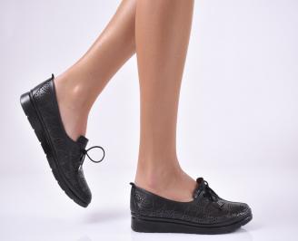 Дамски равни обувки естествена кожа черни JLYV-1013726