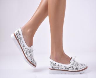 Дамски равни обувки естествена кожа бели LXRG-1013752
