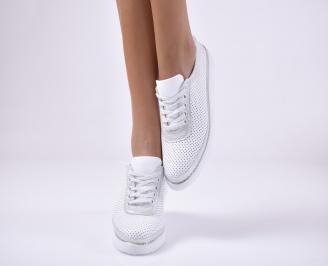 Дамски равни обувки естествена кожа бели IBDF-1013757