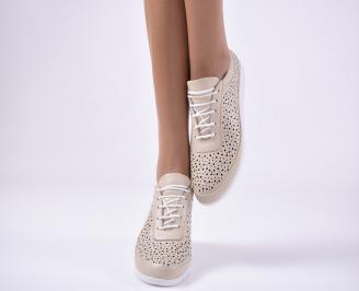 Дамски равни обувки естествена кожа бежови IGSM-1013796