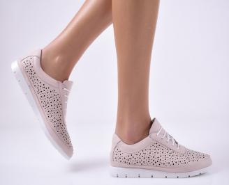 Дамски равни обувки естествена кожа пудра HZLH-1013802