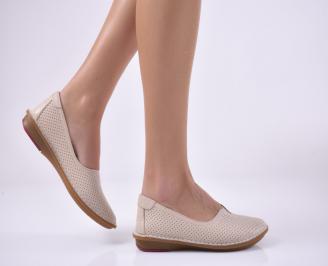 Дамски равни обувки естествена кожа бежови GWDP-1013818