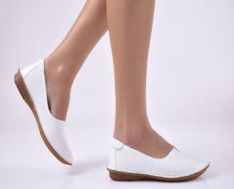 Дамски равни обувки естествена кожа бели UXDC-1013820