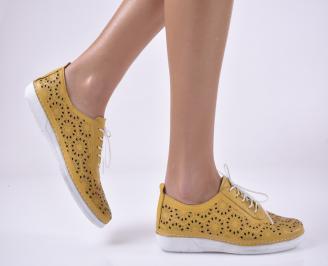 Дамски равни обувки естествена кожа жълти. JFHE-1013828