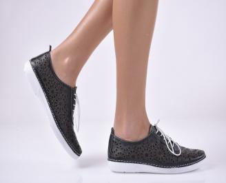 Дамски равни обувки естествена кожа черни. RKXC-1013832