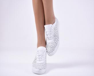 Дамски равни обувки естествена кожа бели. UQFH-1013840