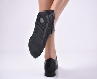 Дамски равни обувки естествена кожа черни. JGMF-1013841