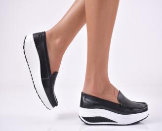 Дамски равни обувки естествена кожа черни ZVVH-1014176
