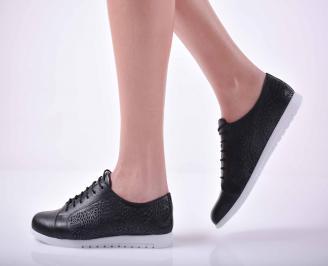 Дамски равни обувки естествена кожа черни  QIBA-1015129