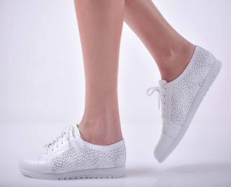 Дамски равни обувки естествена кожа бели  SXYC-1015130