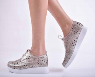 Дамски равни обувки естествена кожа пудра  FGGG-1015138