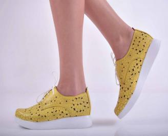 Дамски равни обувки естествена кожа жълти  HAFC-1015145