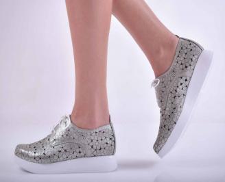 Дамски равни обувки естествена кожа сребристи  TFWN-1015146