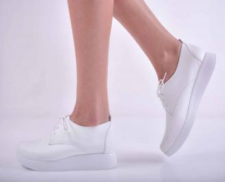 Дамски равни обувки естествена кожа бели  PKAW-1015147